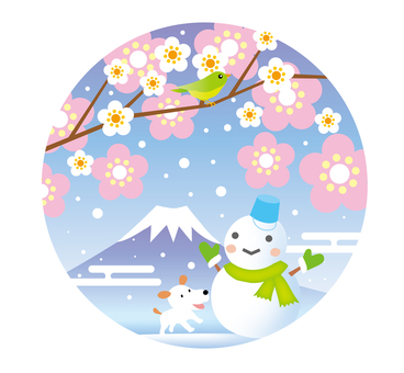 Plum blossoms, Fuji and snowman