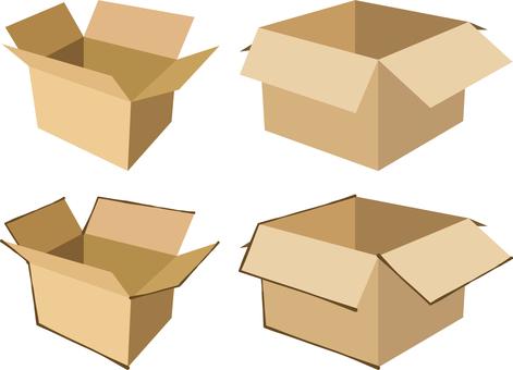 Unsealed open cardboard box set