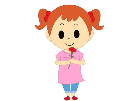 康乃馨粉紅色的女孩