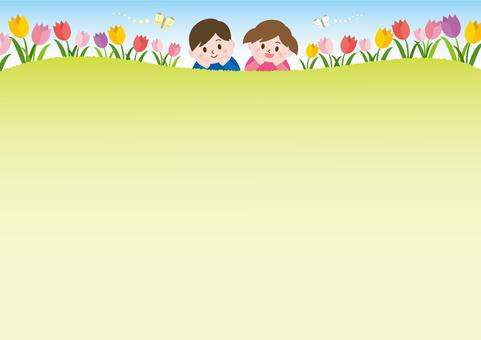 チューリップ畑と子供たち_A02