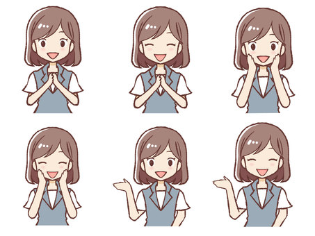 Working woman facial expression set