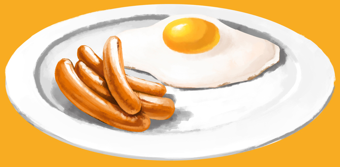 Wiener fried egg with dish