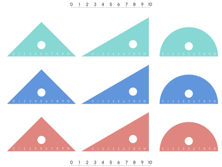 Triangle ruler (Transparent Mint Blue Red)