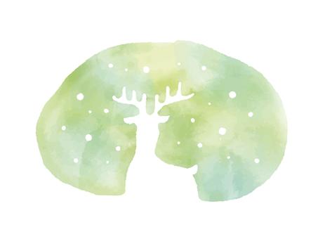 [벡터] 수채화 풍 사슴 실루엣