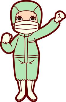 Green suit left green hand