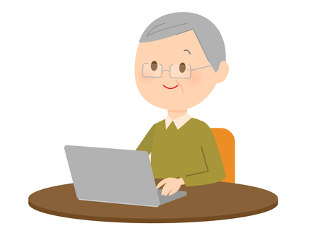 Grandpa using a laptop