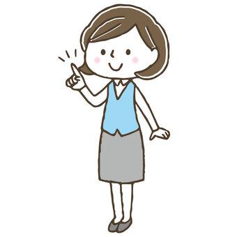 Cute female clerk / office worker / pointing / OL