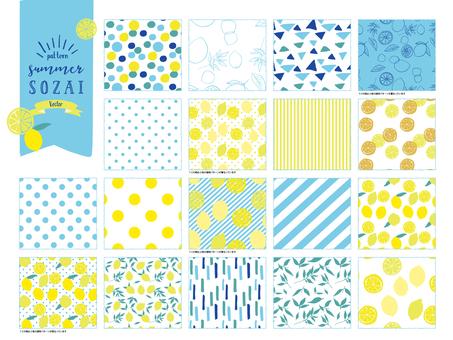 Summer lemon pattern material