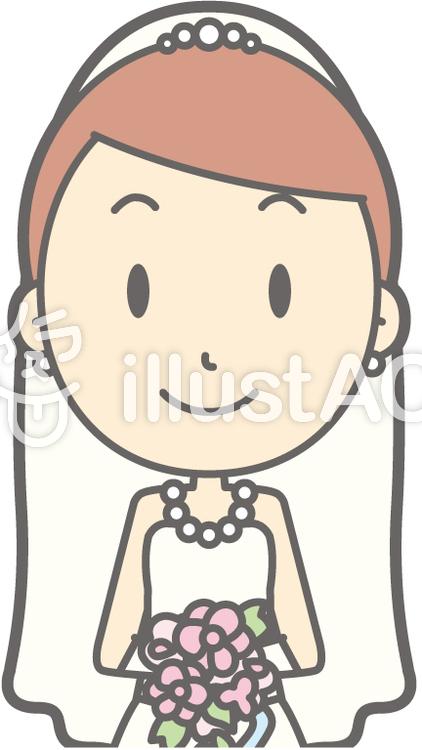 新婦ドレス-正面2-バストのイラスト