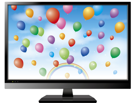 TV (screen blue sky and balloons)