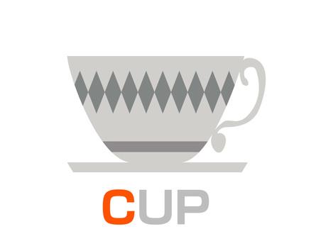English word card C CUP