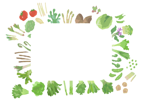 Frame surrounded by spring vegetables