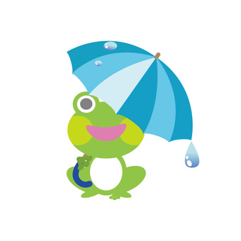 A frog pointing an umbrella