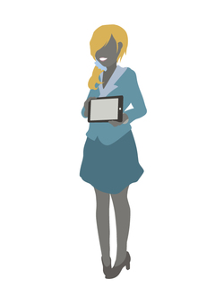 Clerk with tablet