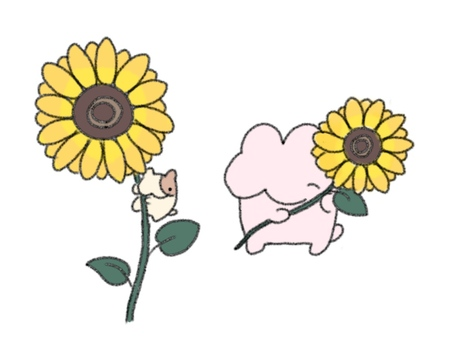 Rabbit, hamster and sunflower