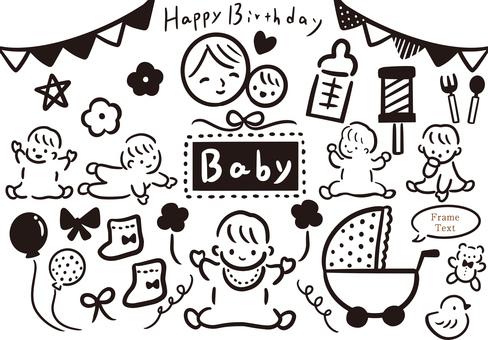 Baby and mom illustration set
