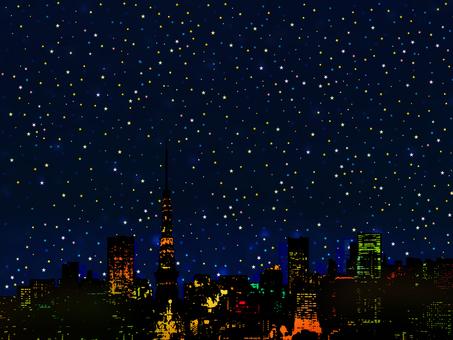 滿天星斗的天空和城市