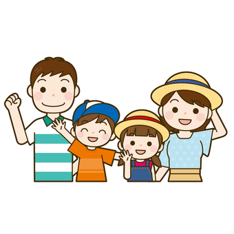 Family 4 people upper body (summer clothes)