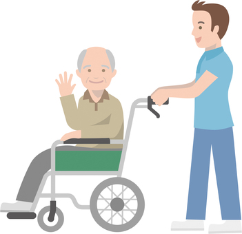 Elderly people who have wheelchairs pushed