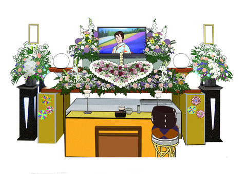 Flower altar and monitor