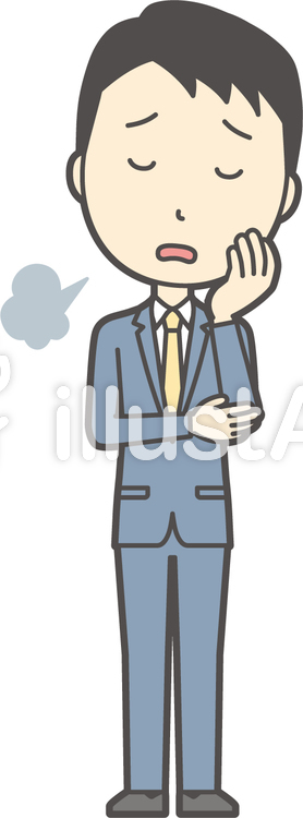 スーツ男性ネイビー-075-全身のイラスト