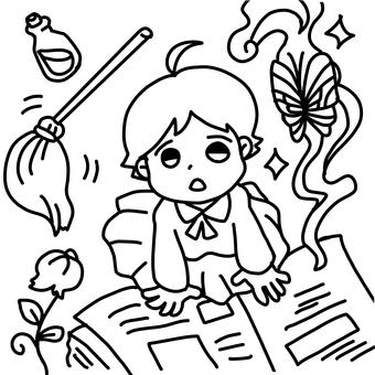 Girl and magic book