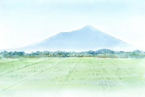 Mountain landscape transparent watercolor painting