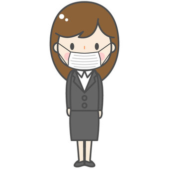 A woman in a suit (mask)