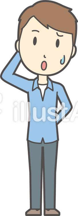 ブルー襟シャツ男性-018-全身のイラスト
