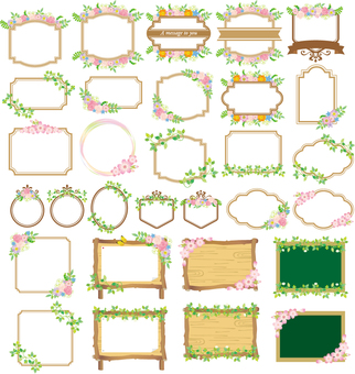 꽃과 식물 장식 프레임 세트