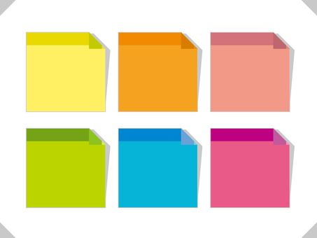Square sticky note illustration frame set 08