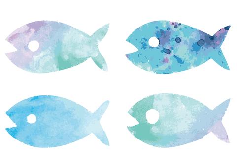 Watercolorous fish icon