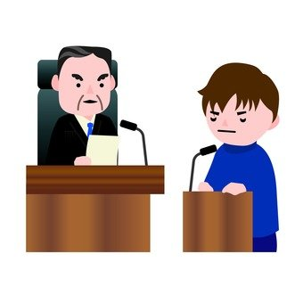 A male judge and a male accused on a testimony