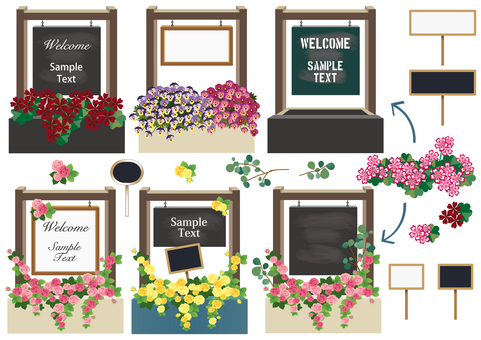 Flower planter with welcome board