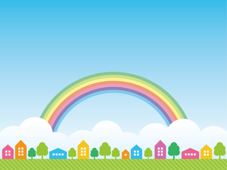 Townscape and rainbow background material