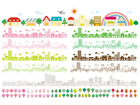 Townscape Trekking Airplane Rainbow Road Downtown Illustration picture