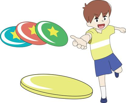 Boy throwing flying disc
