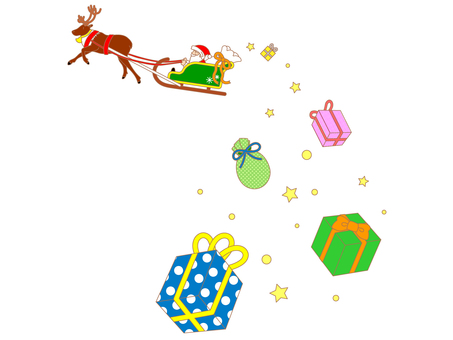 Santa Claus and Reindeer and gifts