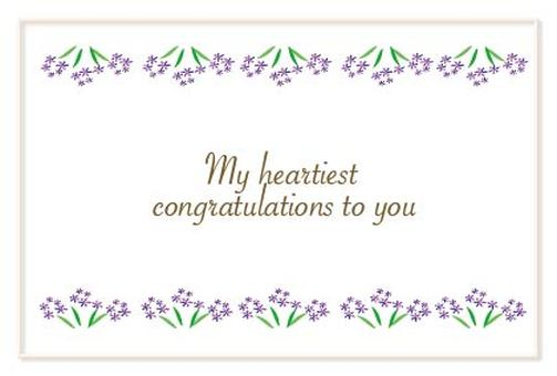 Wedding gifts are also OK with a congratulatory message card