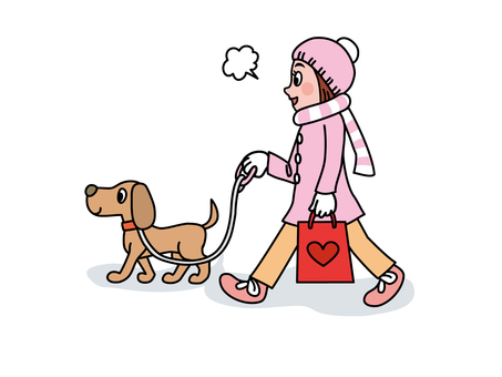 A girl walking with a pet dog