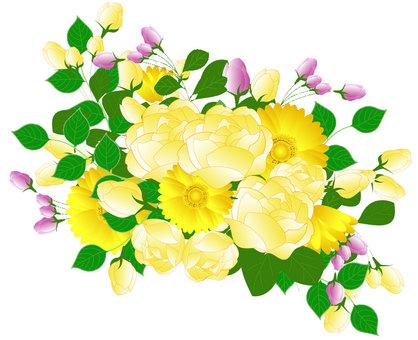 Arrangement of roses and gerberas