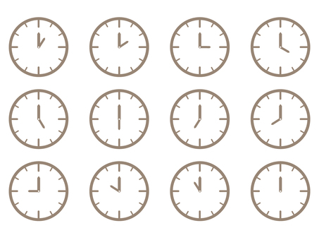 Clock time icon set simple