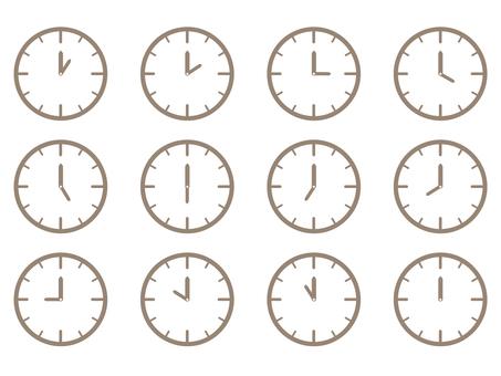 시계 시간 아이콘 세트 간단한