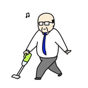 진공 청소기 중년 남성 여유 넥타이