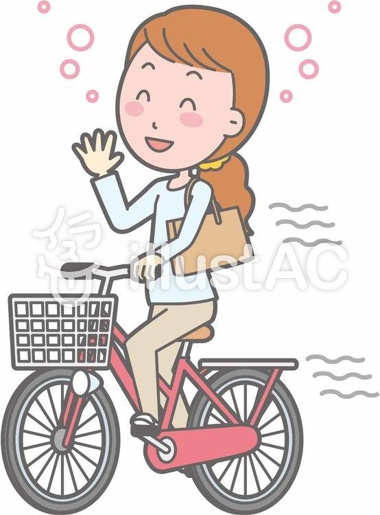 自転車女性-自転車飲酒-全身のイラスト