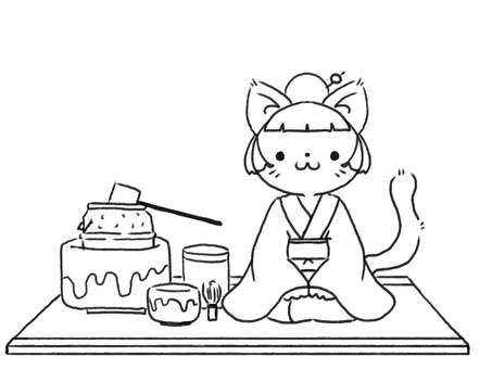 [B / W] Cat practicing tea ceremony [Line drawing]