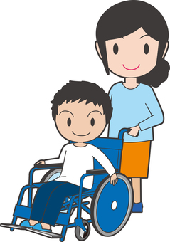 Boy and adult woman on wheelchair