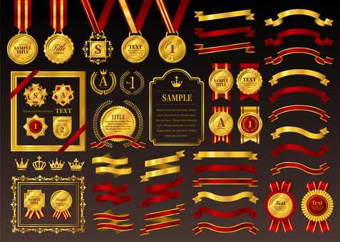 Gold medal and red gold ribbon set