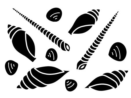 Seashell silhouette material set 02