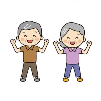 Elderly couple doing gymnastics